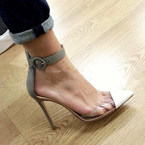 Oasap Damen Spitz Knöchelriemen High Heels Sandalen Black