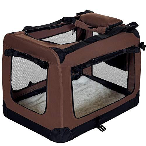 LCP Handels GmbH Klappbare Hundebox Hund Transportbox Faltbare Stoff Hundefaltbox Polster Henkel Trage Tasche; 60x42x44 cm Braun