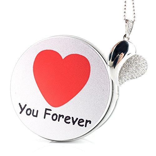 Anvor (TM)/8 g 16 g 32 g 64G USB FLASH DRIVE USB DRIVE Disk, in argento con cristalli, a forma di cuore con brillantini Argento Forever Love 8G