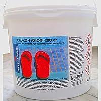 Lapi - 10 Kg Cloro 4 Azioni nuovo prodotto 2014 ex Tripla Azione In Pastiglie 200 Gr. Alghicida Clorante Stabilizzante e flocculante A LENTA Dissoluzione.