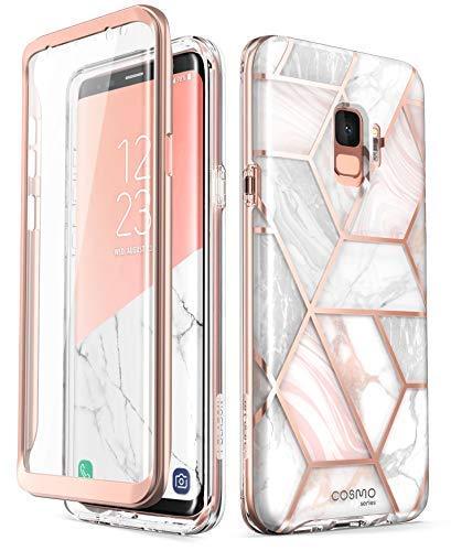 i-Blason Hülle Kompatibel für Samsung Galaxy S9 Glitzer 360 Grad Handyhülle Bumper Case Glänzend Schutzhülle Full Cover [Cosmo] mit integriertem Displayschutz, Marmor (Handy Case Samsung S 5)