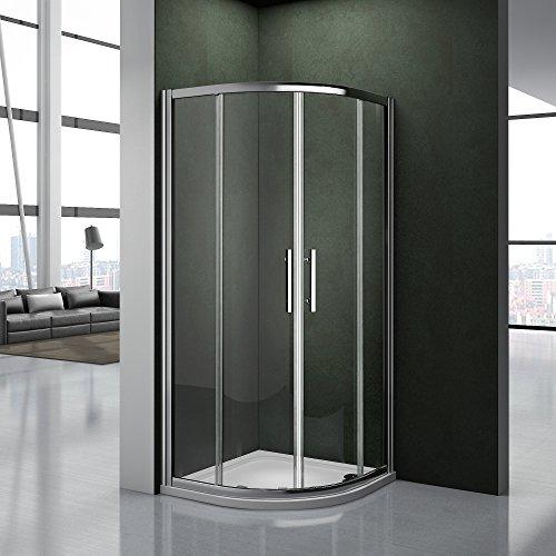 Cabina doccia 80x80 Semicircolare Porta Scorrevole Facile Da Installare Cristallo Temperato Trasparente Anticalcare