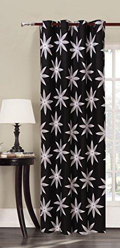 140x245 schwarz Vorhang Ösenschal Fensterdekoration Blumen Blumenmuster Blickdicht weiß Hypnosis Alpin (Weiße Und Schwarze Blumen-vorhänge)