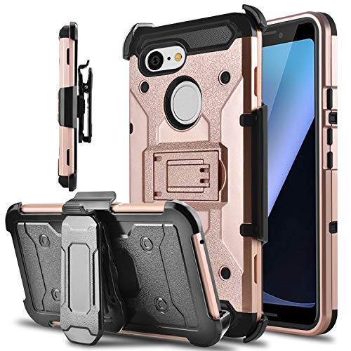 Google Pixel 3 Hülle, Tevero Kickstand [Heavy Duty Protection] Swivel Belt Clip Full Body Armor Protective Shock Proof Phone Case Cover for Google Pixel 3, Rose (3 Film Halloween Clips)
