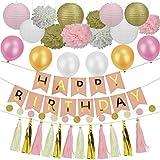 Heall 22 Pcs Decoraciones de Cumpleaños Fiesta Banner Globos Guirnalda Flores Franja Cortina Colgante Happy Birthday