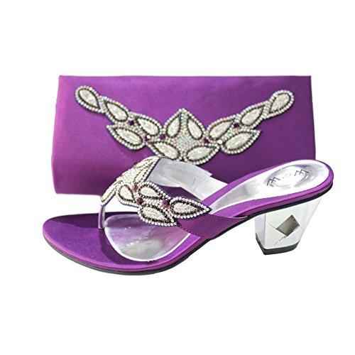 W & W femmes Mesdames Soir Sac Assorti et un confort Chaussures à enfiler Chaussures Diamante mariage talon bloc de bois de santal Taille 4-10(Perk & PECO (Modélisme)) Violet