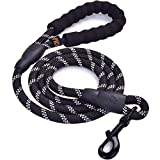 Rope Dog Lead with Soft Padded Handle and High Reflective Threads, 5FT Durable Rope Twist Lead in Strong Pulling Support all Size Dogs
