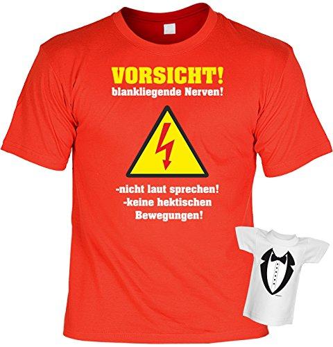 Fun T-Shirt Vorsicht - blankliegende Nerven Shirt bedruckt Geschenk Set mit Mini Flaschenshirt Rot