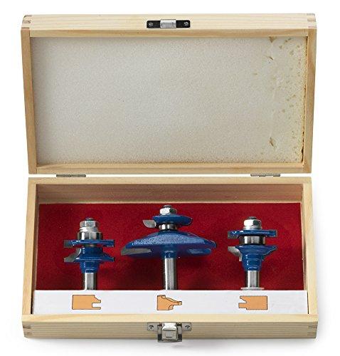 Neiko 10111ein Ogee Cutter Router Bit-Set, 3-teilig | 1/5,1cm Schaft | für Schränke, Handläufe und andere Holz Oberflächen (Freud Raised Panel Bit)