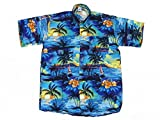 Hawaiihemd Hawai Freizeit Hemd Shirt Viskose blau Palmen schwarz, Größe:XXL