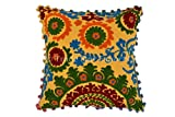 Trade Star Pom Pom Cushion Covers 16x16, Suzani Pillow Covers, Bohemian Pillow Cases Decorative, Indian Cushions Pillow