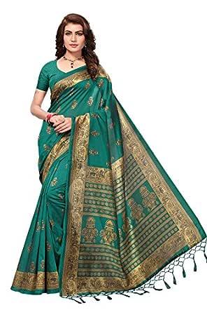 Anni Designer Art Silk Dark Green Saree With Blouse