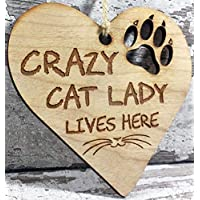 Engraved Wooden Cat Lover Hanging Plaque Decoration Gift Idea For Crazy Cat Lady Cat Lovers Friends Couple Men Women Her Him Family Boyfriend Xmas Gift Idea - L1274