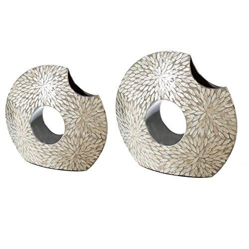 Casablanca - Deko-Vase Capiz MDF/Mosaik aus Capiz-Muschel Perlmutt/grau silberfarbenes Loch handgearbeitet - ausschließlich für Dekozwecke -