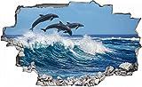 Delfine Meer Welle Delfin Wandtattoo Wandsticker Wandaufkleber C0185 Größe 70 cm x 110 cm