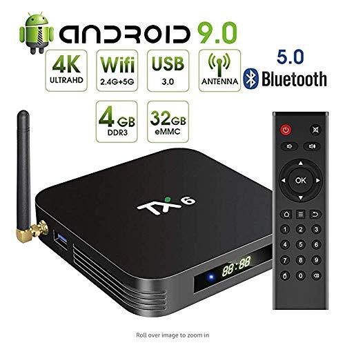 YWT Android 9.0 Fernsehkasten, TX6 Android Fernsehkasten 4GB DDR3 32GB, Doppel-WiFi 2.4G 5G BT5.0 Viererkabel-Kern 3D 4K Ultra HD H.265 USB3.0 Smart Fernsehmedienkasten - 4 Gb-4g Microsd