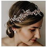 SWEETV Handgefertigt Hochzeit Stirnbänder mit Perle Strass - Bohemien Kopfschmuck (Roségold)