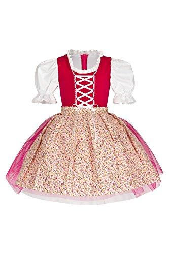 """tanzmuster Kinder Trachtenkleid / Dirndl Tutu \""""Ballerina\"""" mit Tüllrock und Schürze (2-teilig) - Zauberhaftes Tüllkleid für kleine Ballerinas - pink, Größe:140/146"""