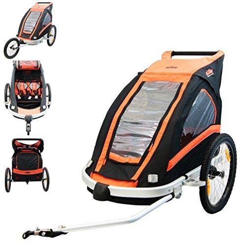 KTM Fahrrad Anhänger für 2Kinder, mit Allwetter Überzug schwarz/orange