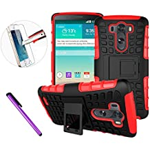 Funda para LG G3, funda de piel para LG G3, funda en forma de libro para LG G3, protector de pantalla de cristal para LG G3, marca Newstand, a pruebas de golpes, diseño ajustable, estampado moderno, funda de piel sintética con tapa para LG G3, incluye 1 lápiz táctil y 1 protector de pantalla, color Tyer Red