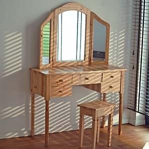 Graz Coiffeuse en bois avec 3 miroirs et 5 tiroirs Couleur bois naturel