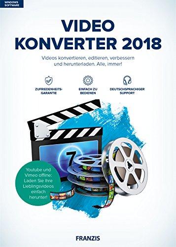 FRANZIS Video Konverter 2018|2018|Videos konvertieren, editieren, verbessern und herunterladen|Windows 10 / 8.1 / 8 / 7|Für PC|Disc|Disc -