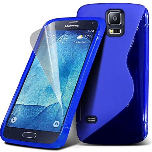 Samsung Galaxy S5 Neo hülle Tasche (Grün + Kopfhörer) Slim-Fit-Abdeckung für Samsung-Galaxie-S5 Neo-hülle Tasche Haltbarer S Linie Wellen-Gel-Kasten-Haut-Abdeckung + mit Aluminium Earbud Kopfhörer, Po Wave Gel+ ( Blue )