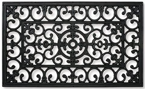 Traditional Wrought Iron Effect Rectangle Door Mat Heavy Duty Scraper - Black (75cm x 45cm)