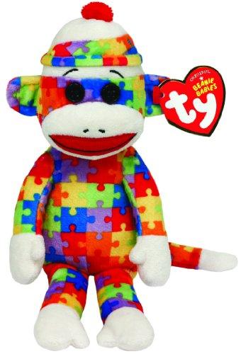 (Carletto Ty TY 7142082 - Socks - Sockenaffe Puzzle, Beanie Babies, 15 cm, regenbogenfarben)