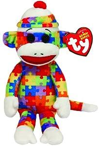 Ty 7142082 Socks Beanie Babies - Mono de Peluche (15 cm), diseño con Estampado de Puzzle, Multicolor