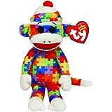 TY 7142082 - Socks - Sockenaffe Puzzle, Beanie Babies, 15 cm, regenbogenfarben