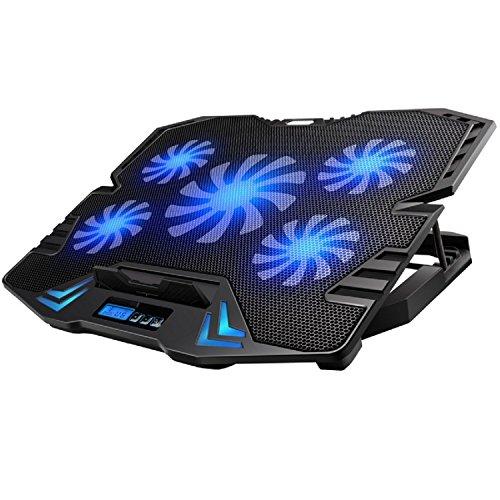 Led Laptop Notebook (Ewent EW1259 Gaming Laptop Kühler 12-17 Zoll, 5 Ruhige Lüfter mit blau LEDs, 2 USB-Ports, Cooling Pad, Notebook Cooler Ständer Kühlpad Kühlmatte, schwarz)