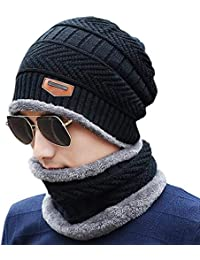 b7d54d60b1a019 HIVER Handcuffs Winter Beanie Cap Scarf Set Warm Knit Cap Thick Fleece  Lined Winter Hat &