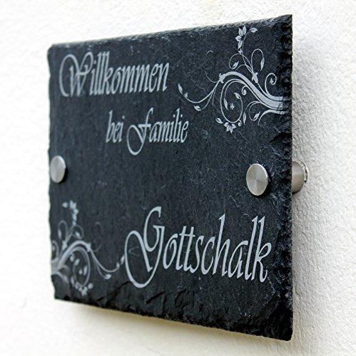Haustürschild 20×15 cm Türschild Namensschild Schiefer Gravur #0021 Wahlweise (Wandabstandshalter, Löcher und Ungelocht) - 2