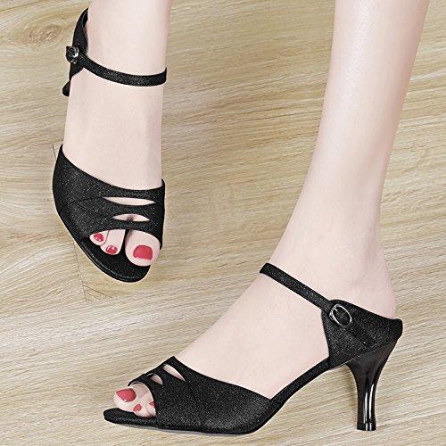 GTVERNH-estate nera 7.5cm pantofole moda indossare scarpe col tacco alto corrisponde tutto bene documentario bocca di pesce sandali.,trentaquattro Thirty-five