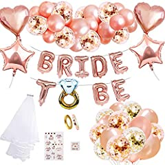 Idea Regalo - MMTX Addio al Nubilato Sposa da Essere Kit Decorazioni per Bachelorette Party Accessori,Palloncini Banner Party in Oro Rosa Satin Sash Velo da Sposa Tatuaggi Temporanei Distintivo per Hen Notte Feste
