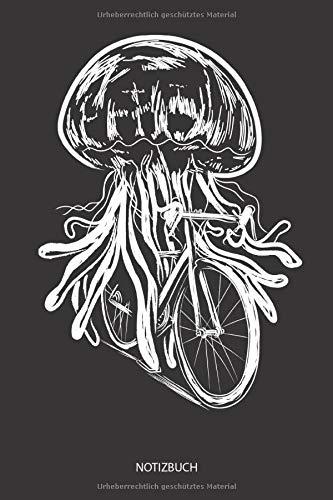Notizbuch: Fahrrad fahrende Qualle Bild gezeichnet - Liniertes leeres Quallen Notizbuch. Lustiges Quallen Bild, Urlaub, Strand und Meer Design. ... Geschenk für Damen, Herren & - Quallen Kostüm Bilder
