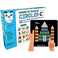 Play Panda Magnetic Puzzles Circles with 250 Colorful Magnets, Magnetic Board, Puzzle Book with 100 Puzzles, Display Stand