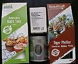 Gourmet Salz und Pfeffer Geschenk- Probier-Set Halitsalz und Malabar Tiger Pfeffer mit Salz-Pfeffermühle, Gewürze Mix Box