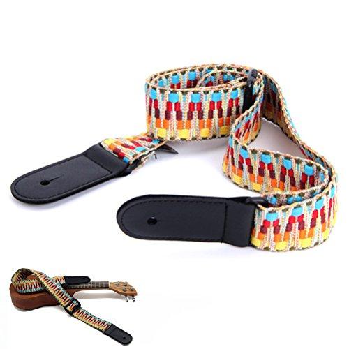ROSENICE Ukulele Gurt Baumwolle Verstellbarer Gitarrengurt mit Leder Ende Retro geflochtene Gurt für Ukulele kleine Gitarre - Für Akustik-gitarre Gurt Leder