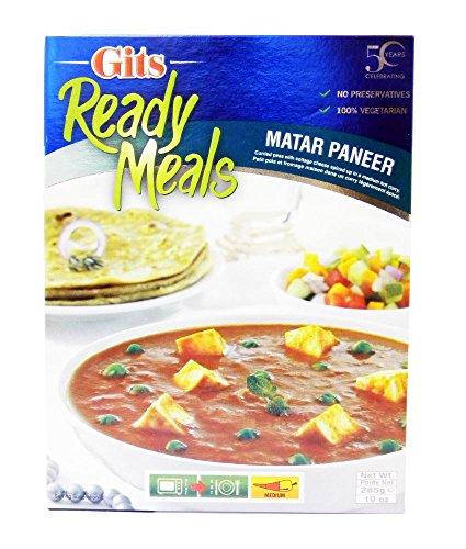 Gits Ready Meals - Plat préparé Matar Paneer - plat indien aux petits pois et au fromage - 285 g