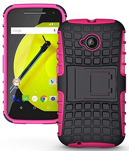 Heartly Flip Kick Stand Spider Hard Dual Rugged Armor Hybrid Bumper Back Case Cover For Motorola Moto E 2nd Generation / Moto E2 XT1505 - Cute Pink