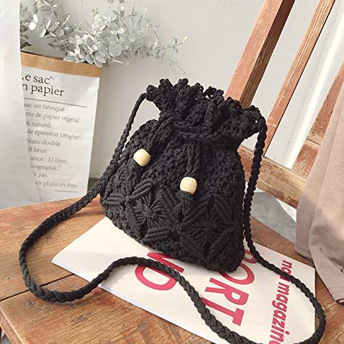 LFGCL Bags womenWoven Pouch Straw Bag vielseitige umhängetasche Holiday Shoulder Messenger Bag, schwarz