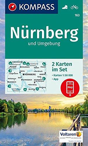 Nürnberg und Umgebung: 2 Wanderkarten 1:50000 im Set inklusive Karte zur offline Verwendung in der KOMPASS-App. Fahrradfahren. (KOMPASS-Wanderkarten, Band 163)
