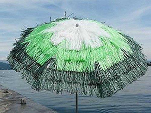 PEGANE Parasol Rond centré Coloris Blanc/anis/ Vert - Dim : H 215 x D 200/8 Baleines