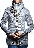 LEIF NELSON Damen Strick-Pullover |Strick-Pulli mit Schalkragen für Frauen | Moderner Zip Woll-Pullover Langarm-Sweatshirt mit Knöpfen