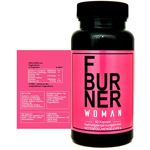 *F BURNER WOMAN – Abnehmen für Sie – Fatburner mit Garcinia Cambogia, Acetyl-L-Carnitin, Grüner Tee Extrakt, Grüner Kaffee Extrakt, L-Carnitin und Vitamin B2, Hergestellt in Deutschland*