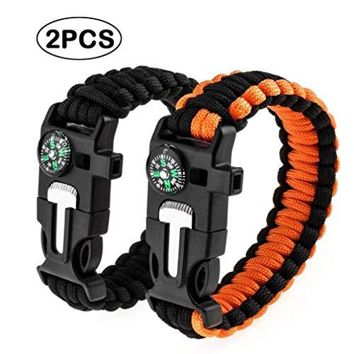 Quner 2pcs Multifunktional Paracord Armband, Survival Armban mit Feuerstein,Kompass, Trillerpfeife, Mini-Messer Perfekt für Camping Wandern