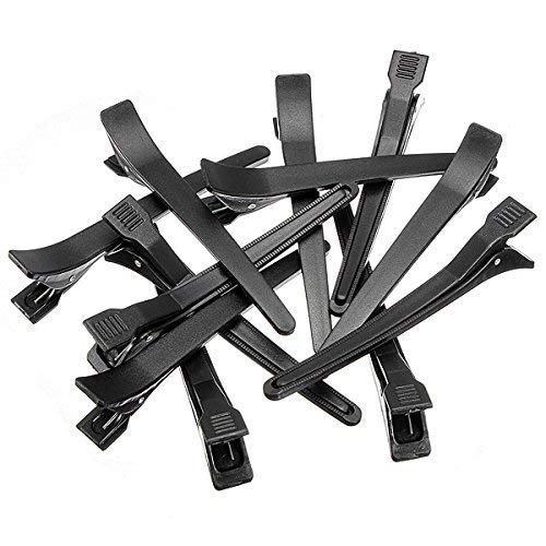 Foreign Holics Hair Styling Section Clips (12 Pieces, Black)