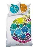 SMILEY Teenager-Bettwäsche · Kinderbettwäsche für Mädchen & Jungen · RAINBOW EMOJI · Smiley Gesicht bunt - Kissenbezug 80x80 + Bettbezug 135x200 cm - 100% Baumwolle - Jugendbettwäsche